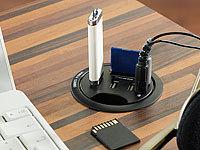 Tisch Kabeldose mit 3x USB Hub, Card Reader & Audio